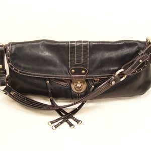 Hayden Harnett Lorca Black Leather Turnlock Bag